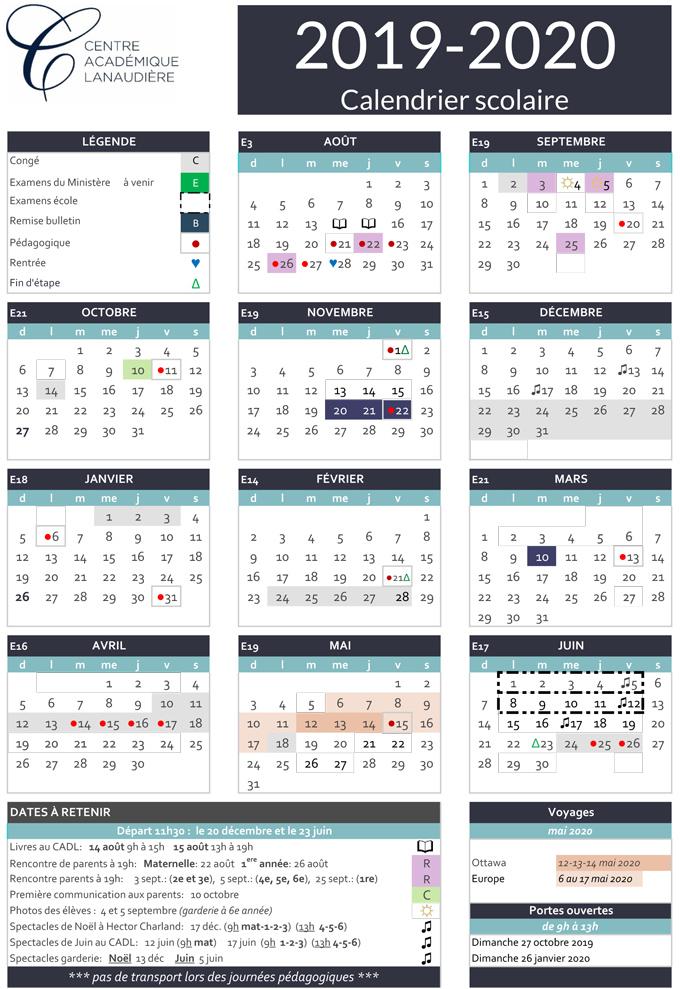 Calendrier Scolaire Mai 2020.Le Calendrier Scolaire Centre Academique De Lanaudiere